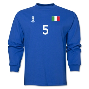 Italy 2014 FIFA World Cup Brazil(TM) Men's LS Number 5 T-Shirt (Royal)