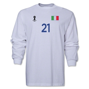 Italy 2014 FIFA World Cup Brazil(TM) Men's LS Number 21 T-Shirt (White)