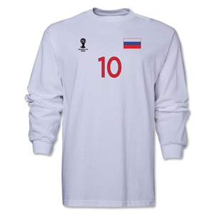 Russia 2014 FIFA World Cup Brazil(TM) Men's LS Number 10 T-Shirt (White)