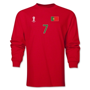 Portugal 2014 FIFA World Cup Brazil(TM) Men's LS Number 7 T-Shirt (Red)