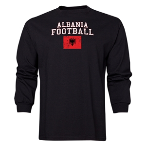 Albania LS Football T-Shirt (Black)