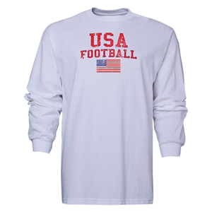 USA LS Football T-Shirt (White)