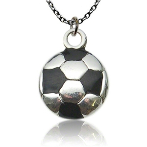 Silver & Black Soccer Ball Necklace