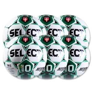 Select Numero 10 Ball-6 Pack-White/Forest Green (Wh/Gr)