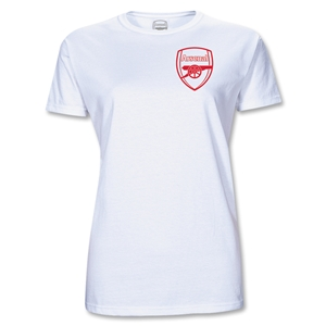 Arsenal Junior Women's Red Crest T-Shirt (White)