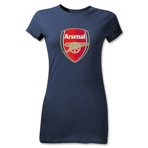 Arsenal Crest Junior Women's T-Shirt (Navy)