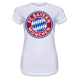 Bayern Munich Logo Junior Women's T-Shirt (White)