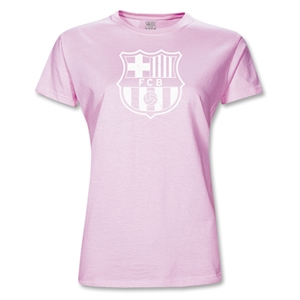 Barcelona Big Crest Junior Women's T-Shirt (Pink)