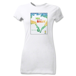 2014 FIFA World Cup Brazil(TM) Junior Women's Official Event Poster T-Shirt (White)