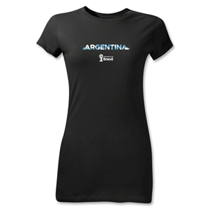 Argentina 2014 FIFA World Cup Brazil(TM) Jr Women's Palm T-Shirt (Black)