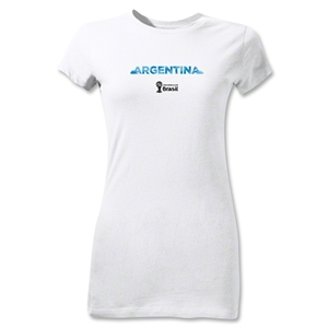 Argentina 2014 FIFA World Cup Brazil(TM) Jr Women's Palm T-Shirt (White)