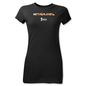 Netherlands 2014 FIFA World Cup Brazil(TM) Jr Women's Palm T-Shirt (Black)