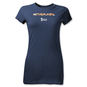 Netherlands 2014 FIFA World Cup Brazil(TM) Jr Women's Palm T-Shirt (Navy)