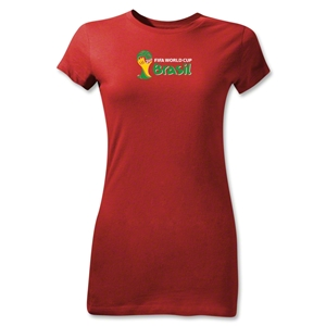2014 FIFA World Cup Brazil(TM) Junior Women's Landscape Emblem T-Shirt (Red)