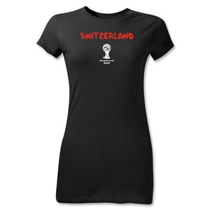 Switzerland 2014 FIFA World Cup Brazil(TM) Jr Women's Core T-Shirt (Black)