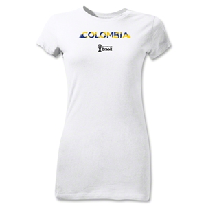 Colombia 2014 FIFA World Cup Brazil(TM) Jr Women's Palm T-Shirt (White)