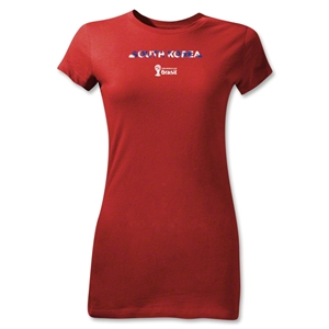 South Korea 2014 FIFA World Cup Brazil(TM) Junior Women's Palm T-Shirt (Red)