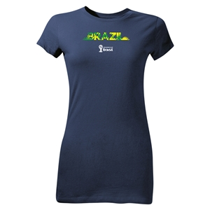 Brazil 2014 FIFA World Cup Brazil(TM) Junior Women's Palm T-Shirt (Navy)