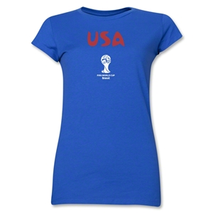 USA 2014 FIFA World Cup Brazil(TM) Junior Women's Core T-Shirt (Royal)