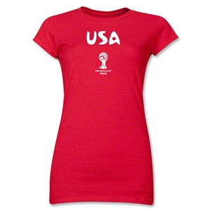 USA 2014 FIFA World Cup Brazil(TM) Junior Women's Core T-Shirt (Red)