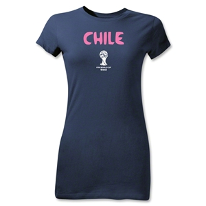 Chile 2014 FIFA World Cup Brazil(TM) Junior Women's Core T-Shirt (Navy)