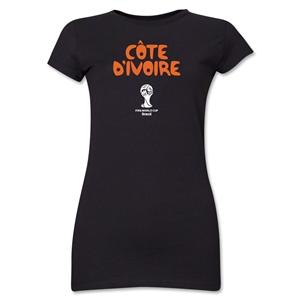 Cote d'Ivoire 2014 FIFA World Cup Brazil(TM) Jr. Women's Core T-Shirt (Black)