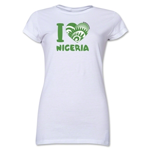 I Heart Nigeria 2014 FIFA World Cup Brazil(TM) Jr. Women's T-Shirt (White)