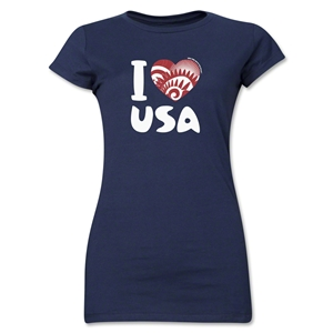 I Heart USA 2014 FIFA World Cup Brazil(TM) Jr. Women's T-Shirt (Navy)