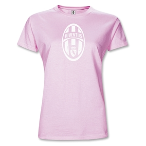 Juventus Junior Women's Distressed Crest T-Shirt (Pink)