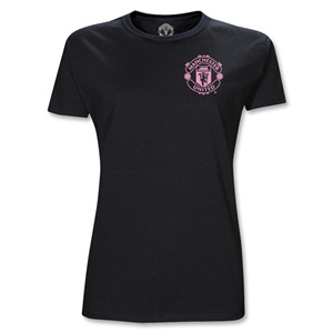 Manchester United Junior Women's Crest T-Shirt (Black)