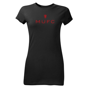 Manchester United MUFC Junior Women's T-Shirt (Black)