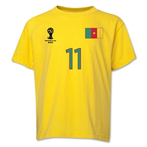 Cameroon 2014 FIFA World Cup Brazil(TM) Youth Number 11 T-Shirt (Yellow)