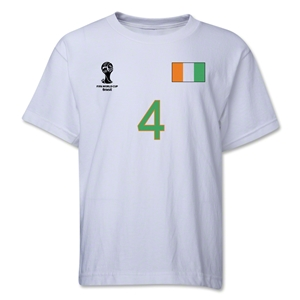 Cote d'Ivoire 2014 FIFA World Cup Brazil(TM) Youth Number 4 T-Shirt (White)