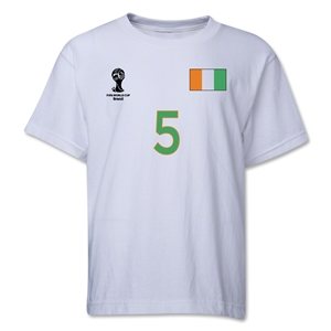 Cote d'Ivoire 2014 FIFA World Cup Brazil(TM) Youth Number 5 T-Shirt (White)
