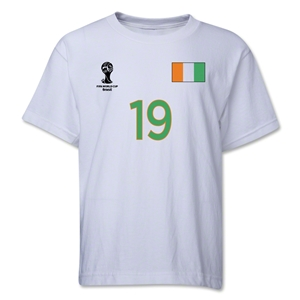 Cote d'Ivoire 2014 FIFA World Cup Brazil(TM) Youth Number 19 T-Shirt (White)