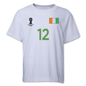 Cote d'Ivoire 2014 FIFA World Cup Brazil(TM) Youth Number 12 T-Shirt (White)