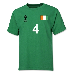 Cote d'Ivoire 2014 FIFA World Cup Brazil(TM) Youth Number 4 T-Shirt (Green)