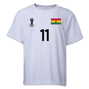 Ghana 2014 FIFA World Cup Brazil(TM) Youth Number 11 T-Shirt (White)
