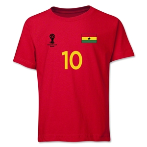 Ghana 2014 FIFA World Cup Brazil(TM) Youth Number 10 T-Shirt (Red)