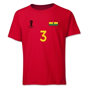 Ghana 2014 FIFA World Cup Brazil(TM) Youth Number 3 T-Shirt (Red)