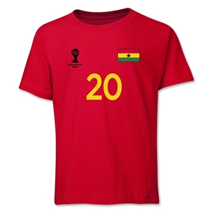 Ghana 2014 FIFA World Cup Brazil(TM) Youth Number 20 T-Shirt (Red)