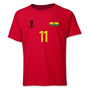 Ghana 2014 FIFA World Cup Brazil(TM) Youth Number 11 T-Shirt (Red)