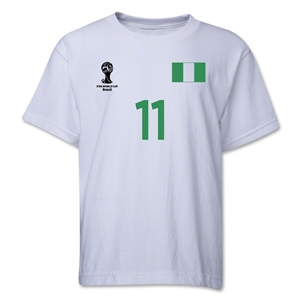 Nigeria 2014 FIFA World Cup Brazil(TM) Youth Number 11 T-Shirt (White)