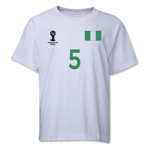 Nigeria 2014 FIFA World Cup Brazil(TM) Youth Number 5 T-Shirt (White)