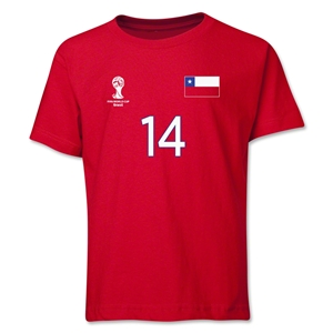 Chile 2014 FIFA World Cup Brazil(TM) Youth Number 14 T-Shirt (Red)