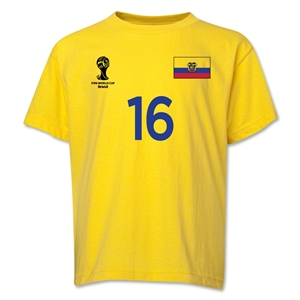 Ecuador 2014 FIFA World Cup Brazil(TM) Youth Number 16 T-Shirt (Yellow)