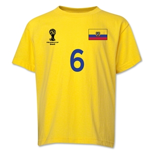 Ecuador 2014 FIFA World Cup Brazil(TM) Youth Number 6 T-Shirt (Yellow)