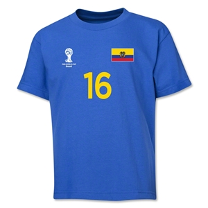 Ecuador 2014 FIFA World Cup Brazil(TM) Youth Number 16 T-Shirt (Royal)