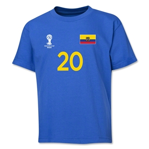 Ecuador 2014 FIFA World Cup Brazil(TM) Youth Number 20 T-Shirt (Royal)