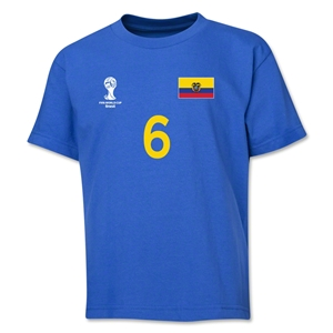 Ecuador 2014 FIFA World Cup Brazil(TM) Youth Number 6 T-Shirt (Royal)